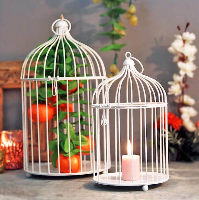 White Bird Cage (Set of 2), with Hanging Chain