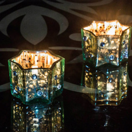 Silver Star Glass Votive-Small (Set of 2) Turquoise