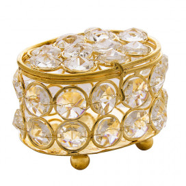 Oval Crystal Gold Jewellery Box