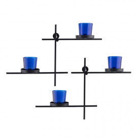 Black Scorching Ladder with Pair of Votive Blue, Wall Hanging Candle Tealight Holder, Set of 2