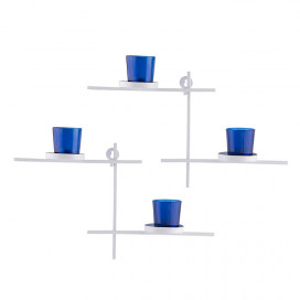 White Scorching Ladder with Pair of Votive Blue Wall Hanging Candle Tealight Holder, Set of 2