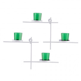 White Scorching Ladder with Pair of Votive Green Wall Hanging Candle Tealight Holder, Set of 2
