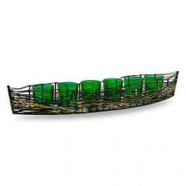Wire Cruise Six Votive Stand (Set of 6 Votive) Green