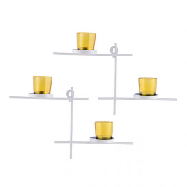 White Scorching Ladder with Pair of Votive Yellow Wall Hanging Candle Tealight Holder, Set of 2