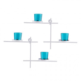 White Scorching Ladder with Pair of Votive Turquoise Wall Hanging Candle Tealight Holder, Set of 2