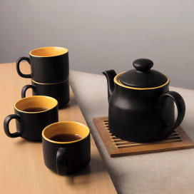 Ceramic Matt Black Tea Pot with cups (set of 4 cups)