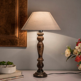 Eureka Polka Black Wood Table Lamp With White Shade