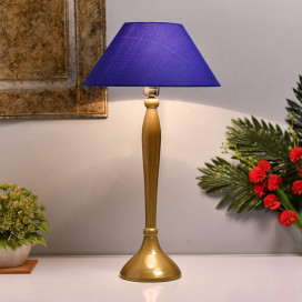 Royal Ovoid Gold Brushed Lamp With Blue Shade