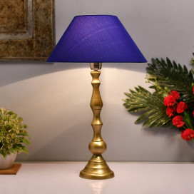 Teardrop Gold Brushed Lamp With Blue Shade