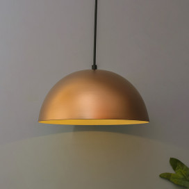 "Metallic Copper Pendant Hanging Light, Hanging Lamp 10"", Rose Gold"