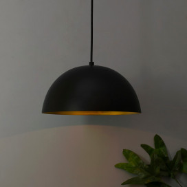Metallic Black Pendant Hanging Light, Hanging Lamp 10""