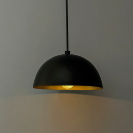 Metallic Black Pendant Hanging Light, Hanging Lamp 8""