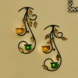 Wall Hanging Leafy Vine Candle Stand, Wall Sconce with Green and Yellow Glass and Candles