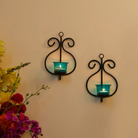 Set of 2 Decorative Wall Sconce/Candle Holder With Turquoise Glass and Free T-light Candles