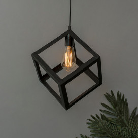 "Edison Filament Hanging Cube 8"", E27 Holder, Decorative, Black, URBAN Retro, Nordic Style, LED/Filament Bulb"