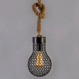 Wire Loop Bulb Pendant Hanging Light, with Rope Wire