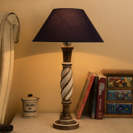 Antique White Twister Wooden Table Lamp with Blue Shade