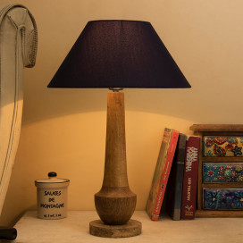 Classic Cubist Wooden Table Lamp, with Blue Shade
