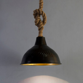 Classic Metal Black Bell Pendant with Retro Rope Hanging, Urban Industrial Hanging Ceiling Light