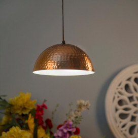 Classic Copper Hammered Pendant Light, Rose Gold, Hanging Lights