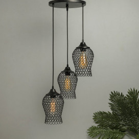 3-Lights Round Cluster Chandelier Chimney Hanging Pendant Light with Braided Cord