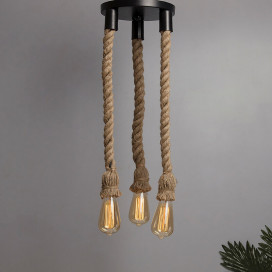 3-Lights Round Cluster Chandelier Edison Rustic Rope Pendant Hanging Pendant Light, Bar Cafe Pub Fancy Light