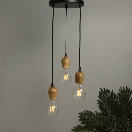 3-Lights Round Cluster Chandelier Edison Filament Wooden Bubble Holder Hanging Pendant Light with Braided Cord