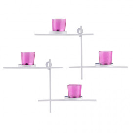 White Scorching Ladder with Pair of Votive Pink Wall Hanging Candle Tealight Holder, Set of 2