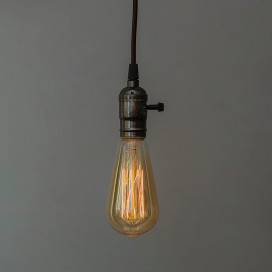 Edison Filaments Bulb Holder Hanging E27 (Antique Black), with Switch, Retro Industrial