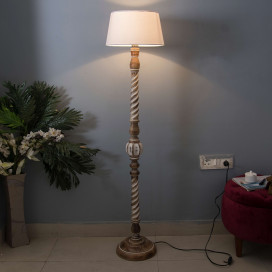 Classic Twister Antique White Finish Wooden Floor Lamp with White Shade