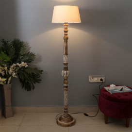 Royal Carving Antique White Finish Wooden Floor Lamp with Khadi Shade
