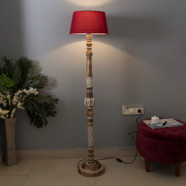 Royal Carving Antique White Finish Wooden Floor Lamp with Red Shade