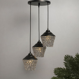 3-Lights Round Cluster Chandelier Crystal Lantern Hanging Pendant Light with Braided Cord