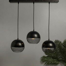 3-Lights Linear Cluster Chandelier Hanging Globe Hanging Pendant Light, Kitchen Area and Dining Room Light