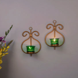 Set of 2 Decorative Golden Wall Sconce/Candle Holder With Green Glass and Free T-light Candles