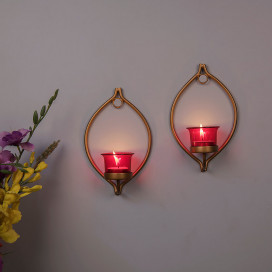 Set of 2 Decorative Golden Eye Wall Sconce/Candle Holder With Red Glass and Free T-light Candles