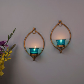 Set of 2 Decorative Golden Eye Wall Sconce/Candle Holder With Turquoise Glass and Free T-light Candles