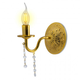 Dainty French Carved Golden Antique Crystal Single Wall Sconce, with LED Bulb, Chandelier Wall Light