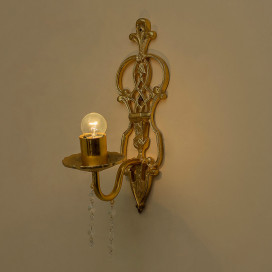 English Carved Golden Antique Crystal Single Wall Sconce, with LED Bulb, Chandelier Wall Light