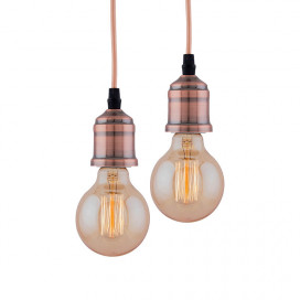 Edison Filament Metallic Antique Copper Bulb Holder, Urban, Retro, Nordic style, With Fixture, Set of 2