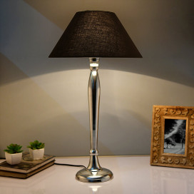 Royal Ovoid Chrome Lamp with Black Shade
