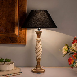 Antique White Twister Wooden Table Lamp with Black Shade