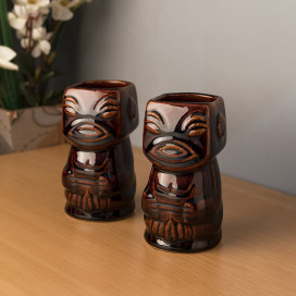 Ceramic Tiki Mug Tumblers Party Mugs Glasses, Beer Cocktail Hawaii Sculptural Table Mug, Tiki Island Mugs, Set of 2