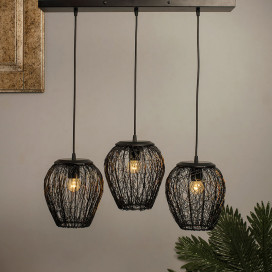 3-Lights Linear Cluster Chandelier Black Steel Wire Mesh Pendant, Decorative, Black, Kitchen Area and Dining Room Light, LED/Filament Light