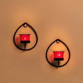 Set of 2 Decorative Black Drop Wall Sconce/Candle Holder With Red Glass and Free T-light Candles