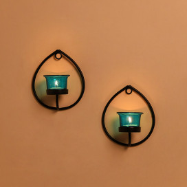 Set of 2 Decorative Black Drop Wall Sconce/Candle Holder With Turquoise Glass and Free T-light Candles