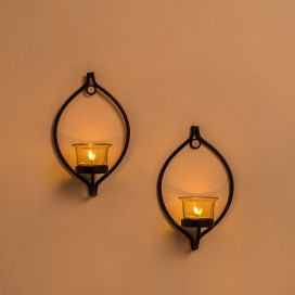 Set of 2 Decorative Black Eye Wall Sconce/Candle Holder With Yellow Glass and Free T-light Candles