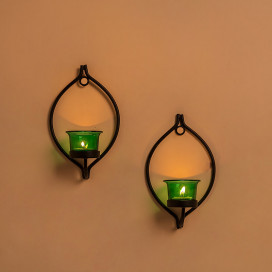 Set of 2 Decorative Black Eye Wall Sconce/Candle Holder With Green Glass and Free T-light Candles