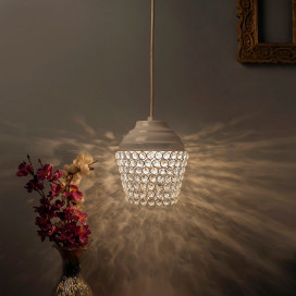 Matt White Crystal Hanging Lantern Light, Ceiling Light, Nordic E27 Pendant
