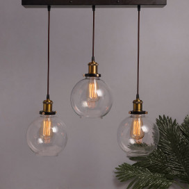 3-Lights Linear Cluster Chandelier Modern Glass Globe Hanging Light, E27 Holder, Kitchen Island Ceiling Light URBAN Retro, LED/Filament Bulb
